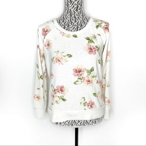 Chaser rose printed white sweater jumper small